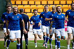 St Johnstone v Motherwell…08.08.21  McDiarmid Park<br />Hayden Muller and Glenn Middleton pictured during the warm-up<br />Picture by Graeme Hart.<br />Copyright Perthshire Picture Agency<br />Tel: 01738 623350  Mobile: 07990 594431