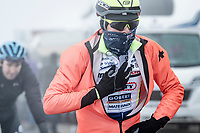An unrecognisable Intermarché-Wanty Gobert rider coming over the Passo Giau with a non sponsored jacket<br /> <br /> due to the bad weather conditions the stage was shortened (on the raceday) to 153km and the Passo Giau became this years Cima Coppi (highest point of the Giro).<br /> <br /> 104th Giro d'Italia 2021 (2.UWT)<br /> Stage 16 from Sacile to Cortina d'Ampezzo (shortened from 212km to 153km)<br /> <br /> ©kramon