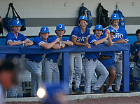 Jesuit Tigers bench during a game against the IMG Academy Ascenders on April 21, 2021 at IMG Academy in Bradenton, Florida.  (Mike Janes/Four Seam Images)