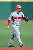 Hartford Hawks shortstop Trey Stover (7) on defense against the Virginia Cavaliers at The Ripken Experience on February 27, 2015 in Myrtle Beach, South Carolina.  The Cavaliers defeated the Hawks 5-1.  (Brian Westerholt/Four Seam Images)