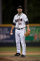 Modesto Nuts starting pitcher John Richy (31) during a California League game against the Lake Elsinore Storm at John Thurman Field on May 12, 2018 in Modesto, California. Lake Elsinore defeated Modesto 4-1. (Zachary Lucy/Four Seam Images)