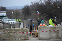 Russian road block on the way from Simferopol to Sevastopol