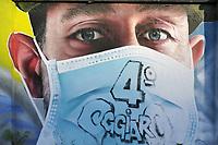 - Milano, nel quartiere periferico nord di Quarto Oggiaro, omaggio dell'artista Cosimo Caiffa (Cheone) agli operatori sanitari dell'ospedale Sacco, in prima linea durante l'epidemia di Coronavirus<br /> <br /> - Milan, in the northern suburban district of Quarto Oggiaro, homage by the artist Cosimo Caiffa (Cheone) to health workers of Sacco hospital, in the front line during the Coronavirus epidemic