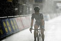 Tyler Farrar (USA/DimensionData) crosses the finish line as a rain storm hits Wevelgem<br /> <br /> 78th Gent - Wevelgem in Flanders Fields (1.UWT)