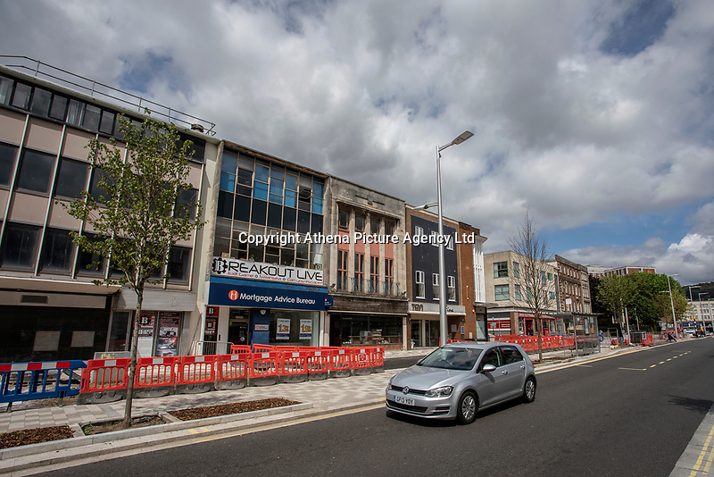 Pictured: A general view of road construction works on the Kingsway in Swansea city centre, Wales, UK.  Friday 12 July 2019 <br /> Re: General view of Swansea city centre, Wales, UK.