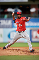 Jacksonville Jumbo Shrimp starting pitcher Jorge Guzman (26) during a Southern League game against the Mississippi Braves on May 4, 2019 at Trustmark Park in Pearl, Mississippi.  Mississippi defeated Jacksonville 2-0.  (Mike Janes/Four Seam Images)