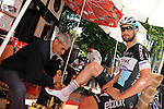 Tom Boonen (BEL) Etixx-Quick Step gets a shoe shine before the start of Stage 4 of the 2015 Presidential Tour of Turkey running 132km from Fethiye to Marmaris. 29th April 2015.<br /> Photo: Tour of Turkey/Mario Stiehl/www.newsfile.ie