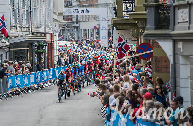 Julien Vermote (BEL/Quick-Step Floors) leading the pack in Bergen city center<br /> <br /> Men Elite Road Race<br /> <br /> UCI 2017 Road World Championships - Bergen/Norway