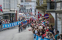 Julien Vermote (BEL/Quick-Step Floors) leading the pack in Bergen city center<br /> <br /> Men Elite Road Race<br /> <br /> UCI 2017 Road World Championships - Bergen/Norway
