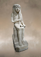 "Ancient Egyptian statue of Hel, limestone, New Kingdom, late 18th Dynasty, (1320-1280 BC), Saqqara. Egyptian Museum, Turin. <br /> <br /> The women is seated on a cushioned stool. On her head is a lotus flower. In her left hand she holds a cloth in her right a counterweight for a meant necklace, a ritual instrument used in the cult of the goddess Hathor. the statue probably stood in a tomb in Saqqara necropolis of Memphis, where the Egyptian eletes of the time had splendid tombs with statues of s similar style. The inscription evokes the deceased ""everything that comes forth in the presence of the gods of Memphis for Osiris, the lady of Hel..."""