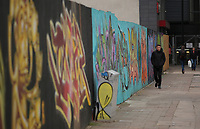 Friday 12 May 2017<br /> Pictured: Graffitis outside the site at Havelock Street in Cardiff, where Media Wales (Western Mail and Echo) used to be located. They have now moved to a smaller building adjacent to it in Wales, UK