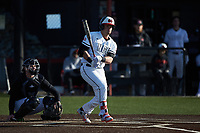 Brady West (20) of the North Greenville Crusaders follows through on his swing against the Bellarmine Knights at Ashmore Park on February 7, 2020 in Tigerville, South Carolina. The Crusaders defeated the Knights 10-2. (Brian Westerholt/Four Seam Images)
