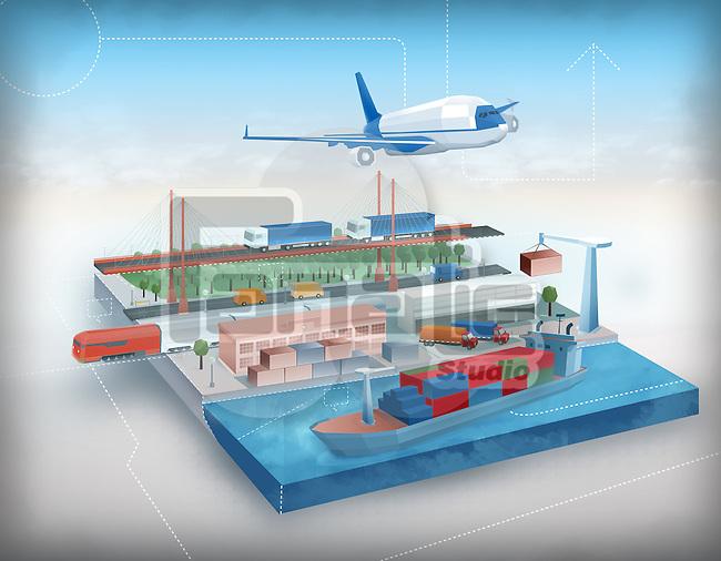 Illustration of global travel concept