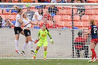 Houston, TX - Sunday Oct. 09, 2016: Samantha Mewis, Alanna Kennedy, Sabrina D'Angelo during the National Women's Soccer League (NWSL) Championship match between the Washington Spirit and the Western New York Flash at BBVA Compass Stadium. The Western New York Flash win 3-2 on penalty kicks after playing to a 2-2 tie.