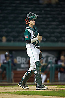 Fort Wayne TinCaps catcher Blake Hunt (12) gives defensive signs to his infield during the game against the Bowling Green Hot Rods at Parkview Field on August 20, 2019 in Fort Wayne, Indiana. The Hot Rods defeated the TinCaps 6-5. (Brian Westerholt/Four Seam Images)