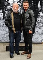 NEW YORK CITY, NY, USA - SEPTEMBER 09: Photographer/ filmmaker Peter Lindbergh and David Beckham arrive at the 'Belstaff: Off Road/David Beckham' Book Signing held at the Belstaff House on September 9, 2014 in New York City, New York, United States. (Photo by Celebrity Monitor)