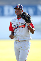 Williamsport Crosscutters outfielder Domingo Santana (24) during pre-game before a game vs the Batavia Muckdogs at Dwyer Stadium in Batavia, New York July 26, 2010.   Batavia defeated Williamsport 3-2.  Photo By Mike Janes/Four Seam Images
