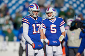Buffalo Bills quarterbacks Josh Allen (17) and Matt Barkley (5) during pre-game warmups before an NFL football game against the New York Jets, Sunday, December 9, 2018, in Orchard Park, N.Y.  (Mike Janes Photography)