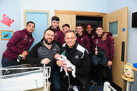 Pictured: (L-R) Courtney Baker-Richardson, Cian Harries, Barrie McKay, Lee Trundle, Decland John, Leroy Fer and Daniel James of Swansea City visit children at Morriston Hospital, Swansea, Wales, UK. <br /> Tuesday 18 December 2018<br /> Re: Swansea City players visit children at Morriston Hospital