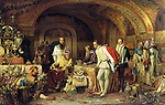 Ivan IV of Russia, Ivan the Terrible, demonstrates his treasures to the ambassador of Queen Elizabeth I of England. 1875.