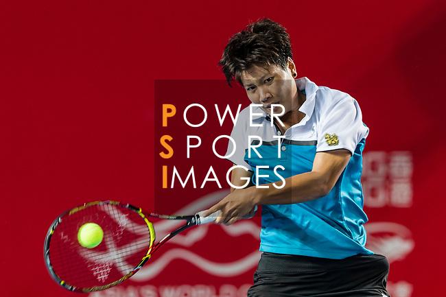 Luksika Kumkhum of Thailand competes against Garbine Muguruza of Spain during the singles quarter final match at the WTA Prudential Hong Kong Tennis Open 2018 at the Victoria Park Tennis Stadium on 12 October 2018 in Hong Kong, Hong Kong.
