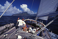 Tor Johnson singlehanded sailing aboard 'Heron', a Halberg-Rassy 46, off Fatu Hiva, Marquesas, French Polynesia