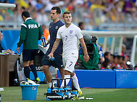 Jack Wilshere of England is replaced by Steven Gerrard after taking a knock to his ankle