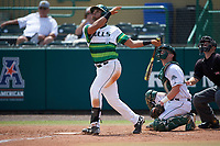 South Florida Bulls third baseman David Villar (10) at bat in front of catcher Adam Gauthier and umpire Chris Tipton during a game against the Dartmouth Big Green on March 27, 2016 at USF Baseball Stadium in Tampa, Florida.  South Florida defeated Dartmouth 4-0.  (Mike Janes/Four Seam Images)
