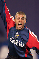 Jon Busch, goal keeper for the Crew shouts instructions prior to a corner kick by the MetroStars. The Columbus Crew defeated the NY/NJ MetroStars 1-0 on 4/12/03 at Giant's Stadium, NJ.