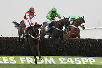 Race winner Romulus D'Artaix ridden by Robert Thornton jumps the last ahead of Nataani ridden by Timmy Murphy in the Colin Ruck-Nightingale Memorial Novices Handicap Chase - Horse Racing at Newbury Racecourse, Berkshire - 02/03/12 - MANDATORY CREDIT: Gavin Ellis/TGSPHOTO - Self billing applies where appropriate - 0845 094 6026 - contact@tgsphoto.co.uk - NO UNPAID USE.