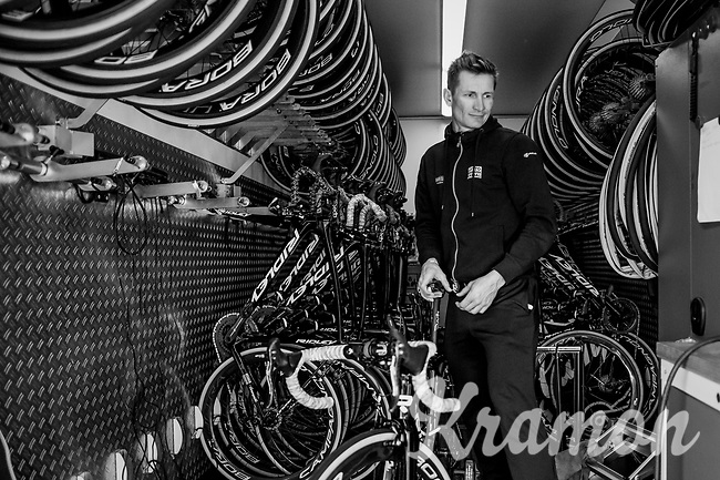 André Greipel (DEU/Lotto-Soudal) personally checking his bike to be race-ready<br /> <br /> Team Lotto-Soudal final prep for Paris-Roubaix 2017 1 day before the race