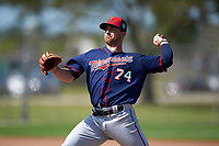 Minnesota Twins pitcher Mason Melotakis (74) during a Spring Training practice on March 1, 2016 at Hammond Stadium in Fort Myers, Florida.  (Mike Janes/Four Seam Images)