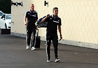 Wednesday 07 August 2013<br /> Pictured: Neil Taylor (R) followed by Gerhard Tremmel, departing from the Swansea Training ground.  <br /> Re: Swansea City FC travelling to Sweden for their Europa League 3rd Qualifying Round, Second Leg game against Malmo.