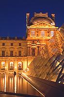 France Paris The Louvre at dusk