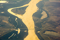 """""""Golden Mississippi River"""" in the early morning at the Greenville Bridge by Art Harman. US Rt 278, bordering Arkansas and Mississippi, and I'm flying to Houston."""