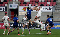 6 March 2021; Max O'Reilly of Leinster beats Jacob Stockdale to this high ball during the Guinness PRO14 match between Ulster and Leinster at Kingspan Stadium in Belfast. Photo by John Dickson/Dicksondigital