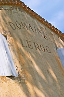 The Chateau Roc de Cambes with an inscription on the wall saying Domaine Le Roc (Leroc)  Cotes de Bourg  Bordeaux Gironde Aquitaine France