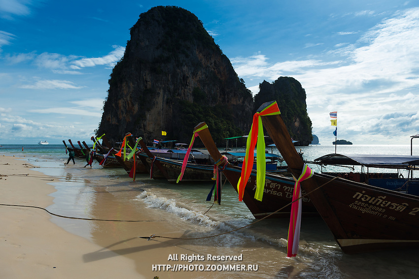 Tour longtail boats near Ko Rang Nok on Phra Nang beach in Krabi province, Thailand