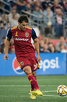 FOXBOROUGH, MA - SEPTEMBER 21: Marcelo Silva #30 of Real Salt Lake passes the ball during a game between Real Salt Lake and New England Revolution at Gillette Stadium on September 21, 2019 in Foxborough, Massachusetts.
