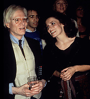 Warhol Trudeau3734.JPG<br /> New York, NY 1978 FILE PHOTO<br /> Andy Warhol & Margaret Trudeau; Studio 54<br /> Digital photo by Adam Scull-PHOTOlink.net<br /> ONE TIME REPRODUCTION RIGHTS ONLY<br /> NO WEBSITE USE WITHOUT AGREEMENT<br /> 718-487-4334-OFFICE  718-374-3733-FAX