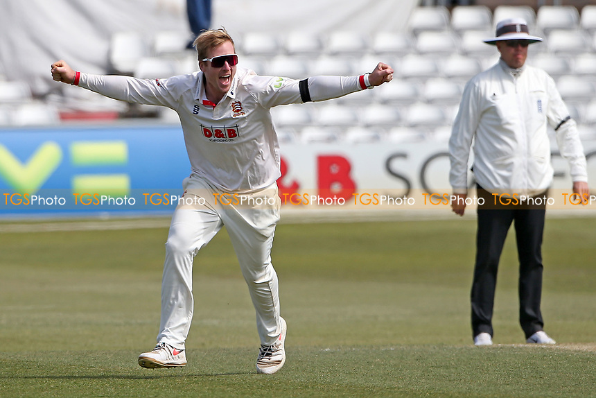 Simon Harmer of Essex claims the wicket of Ned Eckersley during Essex CCC vs Durham CCC, LV Insurance County Championship Group 1 Cricket at The Cloudfm County Ground on 18th April 2021