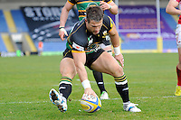 Tom May of Northampton Saints touches down to score a try during the Aviva Premiership match between London Welsh and Northampton Saints at the Kassam Stadium on Sunday 14th April 2013 (Photo by Rob Munro)