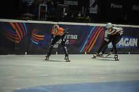 SPEEDSKATING: DORDRECHT: 05-03-2021, ISU World Short Track Speedskating Championships, Heats 500m Men, Itzhak de Laat (NED), Adrian Luedtke (GER), ©photo Martin de Jong