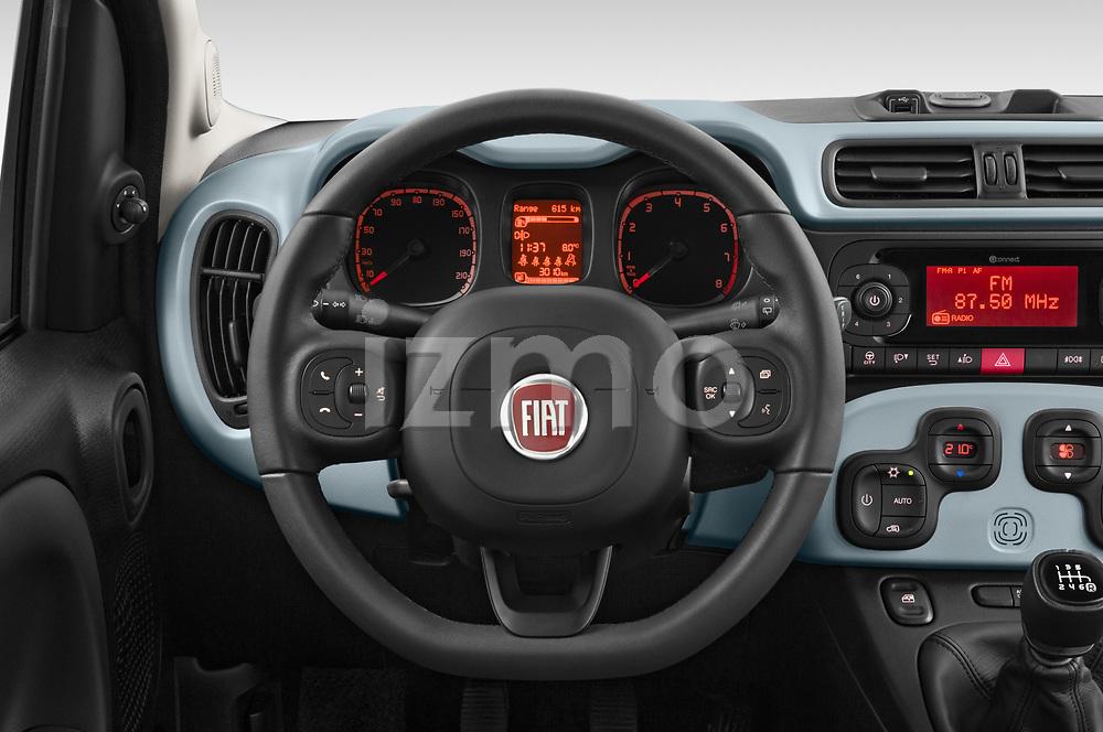 Car pictures of steering wheel view of a 2020 Fiat Panda-Cross Launch-Edition 5 Door Hatchback Steering Wheel