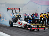 Aug 31, 2019; Clermont, IN, USA; NHRA top fuel driver Steve Torrence during qualifying for the US Nationals at Lucas Oil Raceway. Mandatory Credit: Mark J. Rebilas-USA TODAY Sports