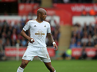 Pictured: Andre Ayew Sunday 30 August 2015<br /> Re: Premier League, Swansea v Manchester United at the Liberty Stadium, Swansea, UK
