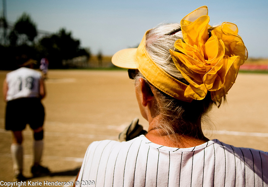 Sue Duttine of the Golden Girls softball team from VA, wears her team colors in her hair. During the Senior Games 2009, at Twin Creeks Sports Complex, in Sunnyvale, Calif., on Monday, August 10, 2009.