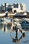 The clam and shellfish harvesters in Faro, Portugal