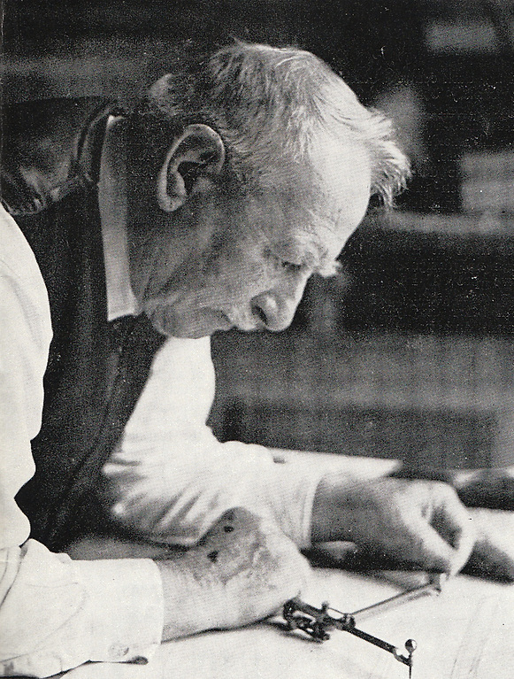 John B Kearney (1879-1968) working on the designs of the 57ft Helen of Howth at the age of 83 in 1963. Photo: Tom Hutson
