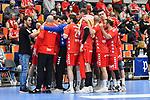Die Eulen bei einer Auszeit beim Spiel in der Handball Bundesliga, Die Eulen Ludwigshafen - SC Magdeburg.<br /> <br /> Foto © PIX-Sportfotos *** Foto ist honorarpflichtig! *** Auf Anfrage in hoeherer Qualitaet/Aufloesung. Belegexemplar erbeten. Veroeffentlichung ausschliesslich fuer journalistisch-publizistische Zwecke. For editorial use only.